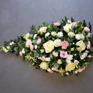 rose teardrop coffin spray