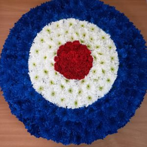 RAF logo funeral flower tribute