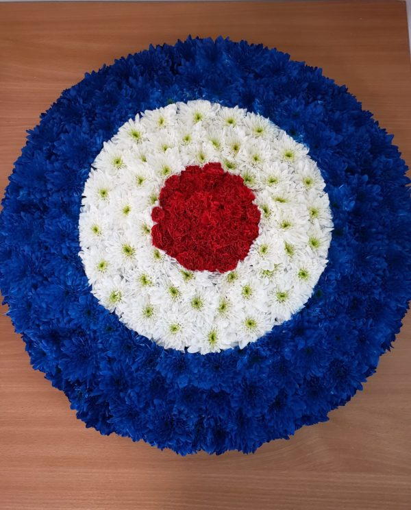 RAF logo funeral flower tribute