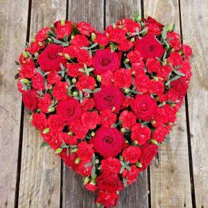 red rose carnation heart-funeral flowers-heart-flowers-florist-torbay