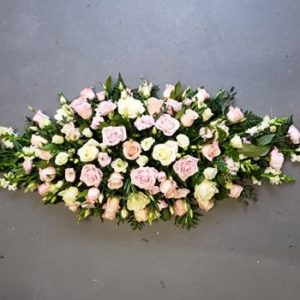 Rose & Lisianthus double ended spray-funeral flowers