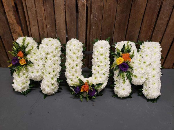 MUM flowers-tribute-funeral flowers-torquay-newton abbott-paignton-brixham-flowers-florist