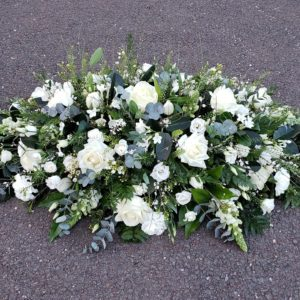 funeral flowers-white-double ended spray-coffin flowers