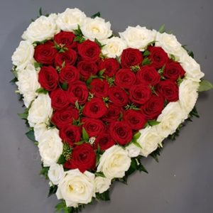rose heart-funeral flower tribute-funeral flowers-roses- heart design