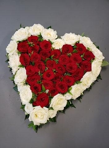 rose heart-funeral flower tribute-funeral flowers-roses- heart design