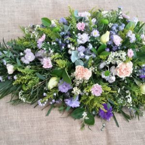 wild and natural single ended coffin spray-funeral flowers-florist-torbay