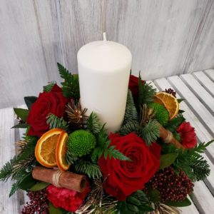 christmas candle flower arrangement-florist-flowers