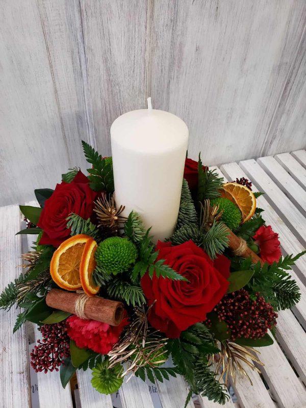 christmas candle flower arrangement-florist-flowers