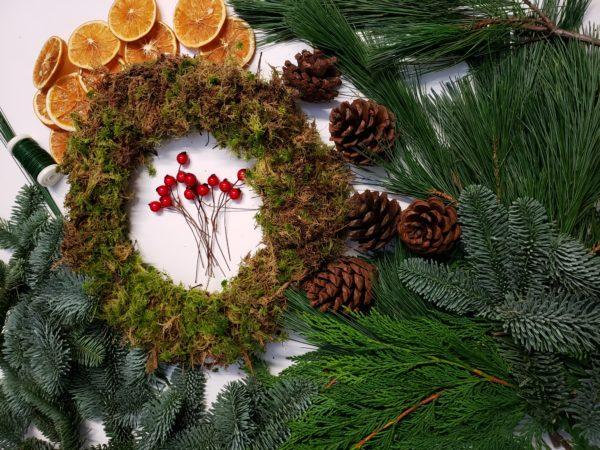 christmas wreath making kit-door wreath