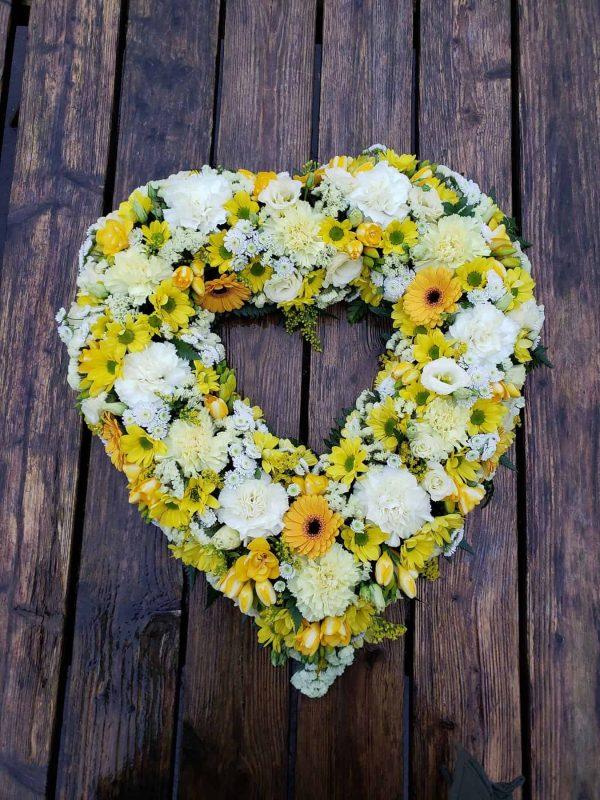 flower heart-funeral flowers-wreath flowers- torbay funeral