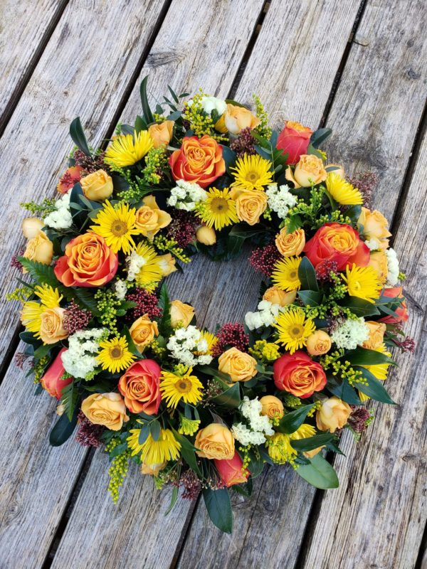seasonal flower wreath-funeral flowers-torquay-torbay florist