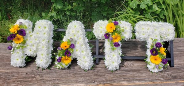 funeral letters-names-white letters