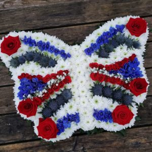 blue-red-white-butterfly-funeral flowers-florist-torbay